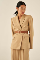 Oroton Alexa Wide Belt in Cognac and Nappa Leather for female