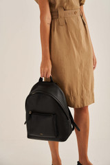 Oroton Anna Medium Backpack in Black and Pebble Leather for female