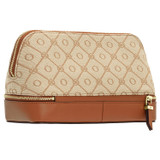 Oroton Elsie Large Beauty Case in Cognac/Biscotti and Jacquard Fabric/Smooth Leather for female