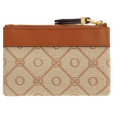 Oroton Elsie Coin Pouch in Cognac/Biscotti and Jacquard Fabric/Smooth Leather for female