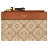 Oroton Elsie 11 Credit Card Zip Wallet in Cognac/Biscotti and Jacquard Fabric/Smooth Leather for female
