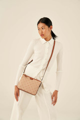 Oroton Elsie Zip Top Crossbody in Cognac/Biscotti and Jacquard Fabric/Smooth Leather for female
