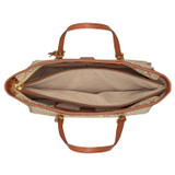 Oroton Elsie Medium Tote in Cognac/Biscotti and Jacquard Fabric/Smooth Leather for female