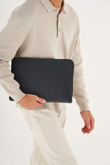 """Oroton Lucas 13"""" Laptop Cover in Black and Pebble Leather for male"""