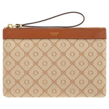 Oroton Elsie Medium Pouch in Cognac/Biscotti and Jacquard Fabric/Smooth Leather for female