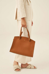 Oroton Atlas Day Bag in Cognac and Pebble Leather for female