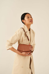 Oroton Atlas Clutch in Cognac and Pebble Leather for female