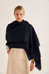 Oroton Hannah Scarf in Denim Blue and 40% Acrylic, 33% Viscose, 20% Nylon And 7% Wool for female