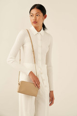 Oroton Inez Chain Crossbody in Fawn and Smooth Saffiano for female