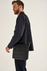 Oroton Lucas Small Satchel in Black and Pebble Leather for male