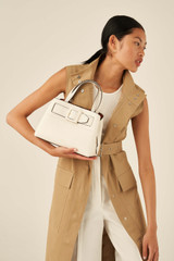 Oroton Avery Small Pocket Day Bag in Cream and Soft Pebble Leather for female