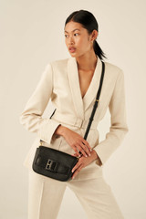 Oroton Avery Crossbody in Black and Soft Pebble Leather for female