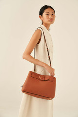 Oroton Avery Three Pocket Day Bag in Toffee and Soft Pebble Leather for female