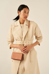 Oroton Fay Mini Chain Crossbody in Terracotta and Smooth Leather for female