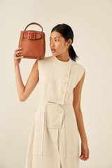 Oroton Avery Small Bucket Bag in Toffee and Soft Pebble Leather for female
