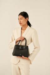 Oroton Avery Small Pocket Day Bag in Black and Soft Pebble Leather for female