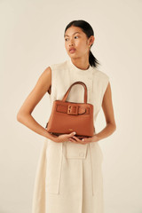 Oroton Avery Small Pocket Day Bag in Toffee and Soft Pebble Leather for female