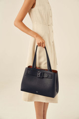 Oroton Avery Three Pocket Day Bag in Denim Blue and Soft Pebble Leather for female