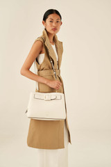 Oroton Avery Three Pocket Day Bag in Cream and Soft Pebble Leather for female