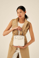 Oroton Avery Small Bucket Bag in Cream and Soft Pebble Leather for female