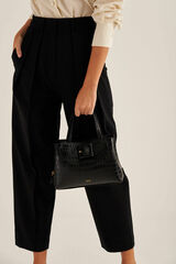 Oroton Avery Texture Small Three Pocket Day Bag in Black and Croc Effect Leather for female