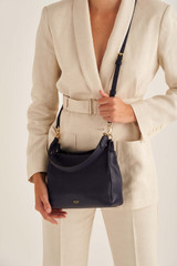 Oroton Byron Small Hobo in Midnight Blue and Pebble Leather for female