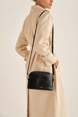 Oroton Inez Texture Slim Crossbody in Black and Croc Effect Leather for female