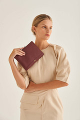 Oroton Lucy Medium Pouch in Bordeaux and Pebble Leather for female