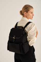 Oroton Elsie Baby Backpack And Mat in Black and Elsie Signature Jacquard Fabric/Vachetta Leather for female