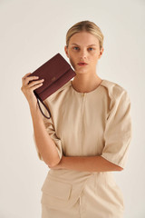 Oroton Lucy Clutch And Pouch in Bordeaux and Pebble Leather for female