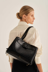 Oroton Avery Texture Three Pocket Day in Black and Croc Effect Leather for female