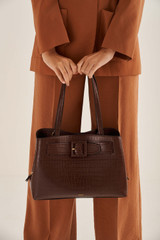 Oroton Avery Texture Three Pocket Day in Maple and Croc Effect Leather for female