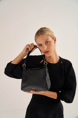 Oroton Byron Small Hobo in Black and Pebble Leather for female