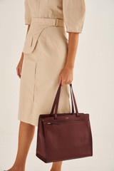 Oroton Lucy Medium Tote in Bordeaux and Pebble Leather for female