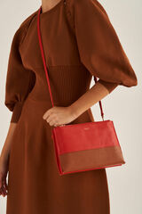 Oroton Anna Crossbody in Cherry/Cognac and Pebble Leather for female