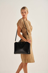 """Oroton Inez Texture 13"""" Zip Around Worker Tote in Black and Croc Effect Leather for female"""