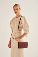 Oroton Lucy Fold Over Chain Crossbody in Bordeaux and Pebble Leather for female