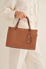 Oroton Sadie Medium Day Bag in Toffee and Pebble Leather for female