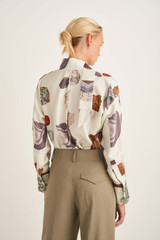 Oroton Mineral Print Blouse in Bone and 100% Silk for female