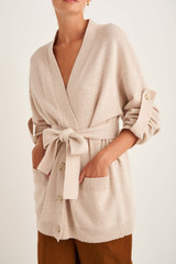 Oroton Knit Cardigan in Oatmeal and 100% Wool for female