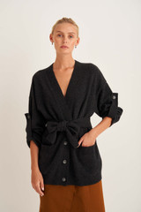Oroton Knit Cardigan in Dark Charcoal and 100% Wool for female