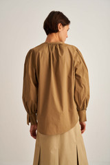 Oroton Long Sleeve Popover Shirt in Deep Olive and 100% Cotton for female
