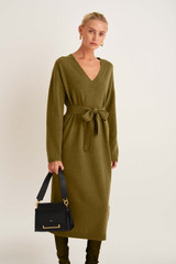 Oroton V-Neck Dress in Deep Olive and 100% Wool for female