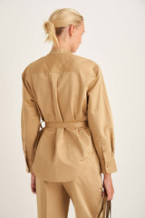Oroton Belted Overshirt in Golden Olive and 70% Cotton, 30% Linen for female