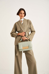 Oroton Belted Jacket in Flint and 57% Linen, 20% Cotton, 18% Polyamide, 5% Elastane for female