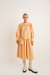 Oroton Long Sleeve Gathered Dress in Mango and 100% Cotton for female