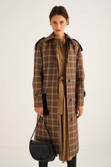 Oroton Check Trench in Chocolate and 55% Polyester, 45% Cotton for female
