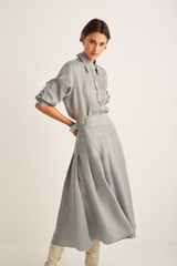 Oroton Soft Pleat Skirt in Mist Grey and 100% Cupro for female