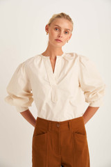 Oroton Long Sleeve Popover Shirt in Cream and 100% Cotton for female