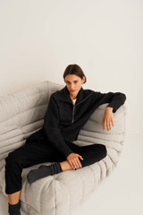 Oroton Rib Collar Knit in Dark Charcoal and 100% Wool for female